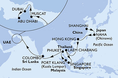 China, Japan, Hong Kong, Thailand, Singapore, Malaysia, Sri Lanka, Oman, United Arab Emirates