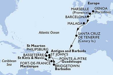 Italy,France,Spain,Barbados,Antigua and Barbuda,Saint Kitts and Nevis,Sint Maarten (Dutch part),Martinique,Guadeloupe