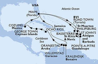 United States, Antigua and Barbuda, Saint Kitts and Nevis, Virgin Islands (British), Guadeloupe, St. Maarten, Aruba, Jamaica, Cayman Islands, Mexico