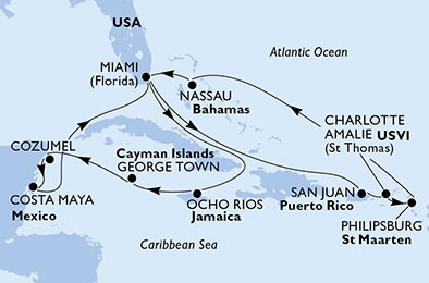 United States, Jamaica, Cayman Islands, Mexico, Puerto Rico, Virgin Islands (U.S.), St. Maarten, Bahamas