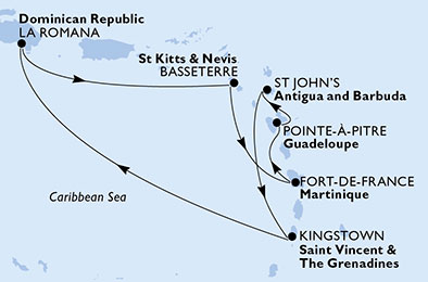 Martinique,Guadeloupe,Antigua and Barbuda,Saint Vincent & The Grenadines,Dominican Republic,Saint Kitts and Nevis