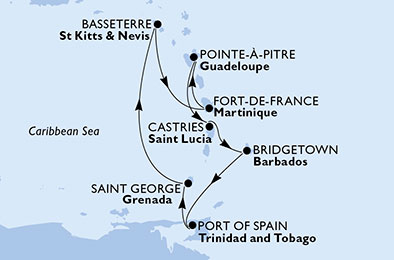 Martinique,Guadeloupe,Saint Lucia,Barbados,Trinidad and Tobago,Grenada,Saint Kitts and Nevis
