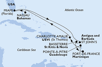 United States,Antigua and Barbuda,Saint Kitts and Nevis,Martinique,Guadeloupe,Virgin Islands (U.S.),Bahamas