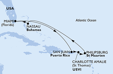 United States, Puerto Rico, Virgin Islands (U.S.), St. Maarten, Bahamas