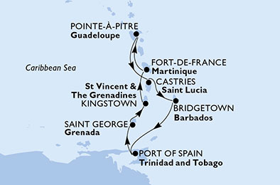 Martinique, Guadeloupe, Saint Lucia, Barbados, Trinidad and Tobago, Grenada, Saint Vincent & The Grenadines