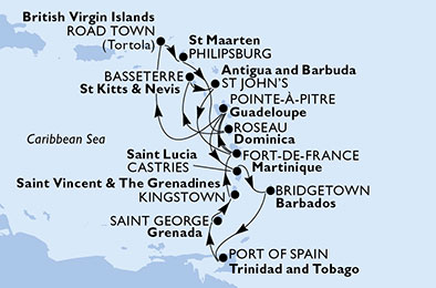 Martinique, Guadeloupe, Virgin Islands (British), Netherlands Antilles, Dominica, Saint Kitts and Nevis, Antigua and Barbuda, Saint Lucia, Barbados, Trinidad and Tobago, Grenada, Saint Vincent & The Grenadines