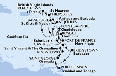 Guadeloupe, Virgin Islands (British), St. Maarten, Dominica, Saint Kitts and Nevis, Antigua and Barbuda, Martinique, Saint Lucia, Barbados, Trinidad and Tobago, Grenada, Saint Vincent & The Grenadines