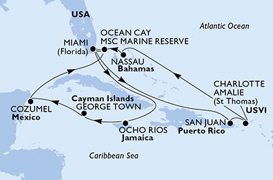 United States, Jamaica, Cayman Islands, Mexico, Bahamas, Puerto Rico, Virgin Islands (U.S.)