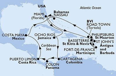 United States, Jamaica, Colombia, Panama, Costa Rica, Mexico, Bahamas, Virgin Islands (British), Antigua and Barbuda, Saint Kitts and Nevis, Martinique, St. Maarten