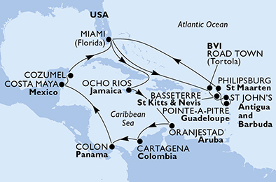 United States, Virgin Islands (British), Saint Kitts and Nevis, Antigua and Barbuda, Guadeloupe, St. Maarten, Jamaica, Aruba, Colombia, Panama, Mexico
