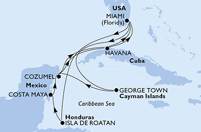 United States, Honduras, Mexico, Cuba, Cayman Islands