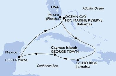 United States, Jamaica, Cayman Islands, Mexico, Bahamas