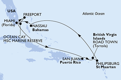 United States, Bahamas, Puerto Rico, Virgin Islands (British), St. Maarten