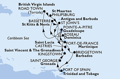 Guadeloupe, Saint Lucia, Barbados, Trinidad and Tobago, Grenada, Saint Vincent & The Grenadines, Martinique, Virgin Islands (British), Netherlands Antilles, Dominica, Saint Kitts and Nevis, Antigua and Barbuda