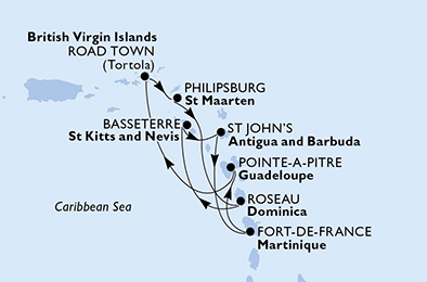 Guadeloupe, Virgin Islands (British), Netherlands Antilles, Dominica, Saint Kitts and Nevis, Antigua and Barbuda, Martinique