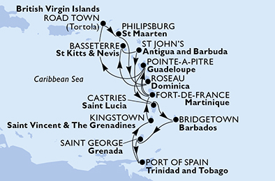 Fort de France,Pointe-a-Pitre,Castries,Bridgetown,Saint George,Port of Spain,Kingstown,Fort de France,Pointe-a-Pitre,Road Town,Philipsburg,Roseau,Basseterre,St John s,Fort de France
