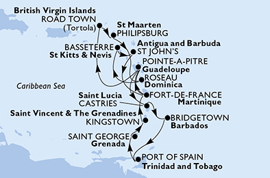 Guadeloupe, Virgin Islands (British), Netherlands Antilles, Dominica, Saint Kitts and Nevis, Antigua and Barbuda, Martinique, Saint Lucia, Barbados, Trinidad and Tobago, Grenada, Saint Vincent & The Grenadines