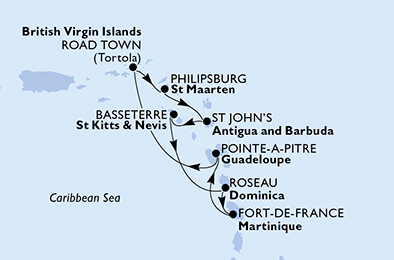 Guadeloupe, Virgin Islands (British), Netherlands Antilles, Antigua and Barbuda, Saint Kitts and Nevis, Dominica, Martinique